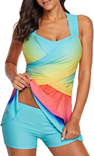 Womens Color Block Swimdress Tankini Swimsuits with Boyshorts Swimwear Set M-XXXL