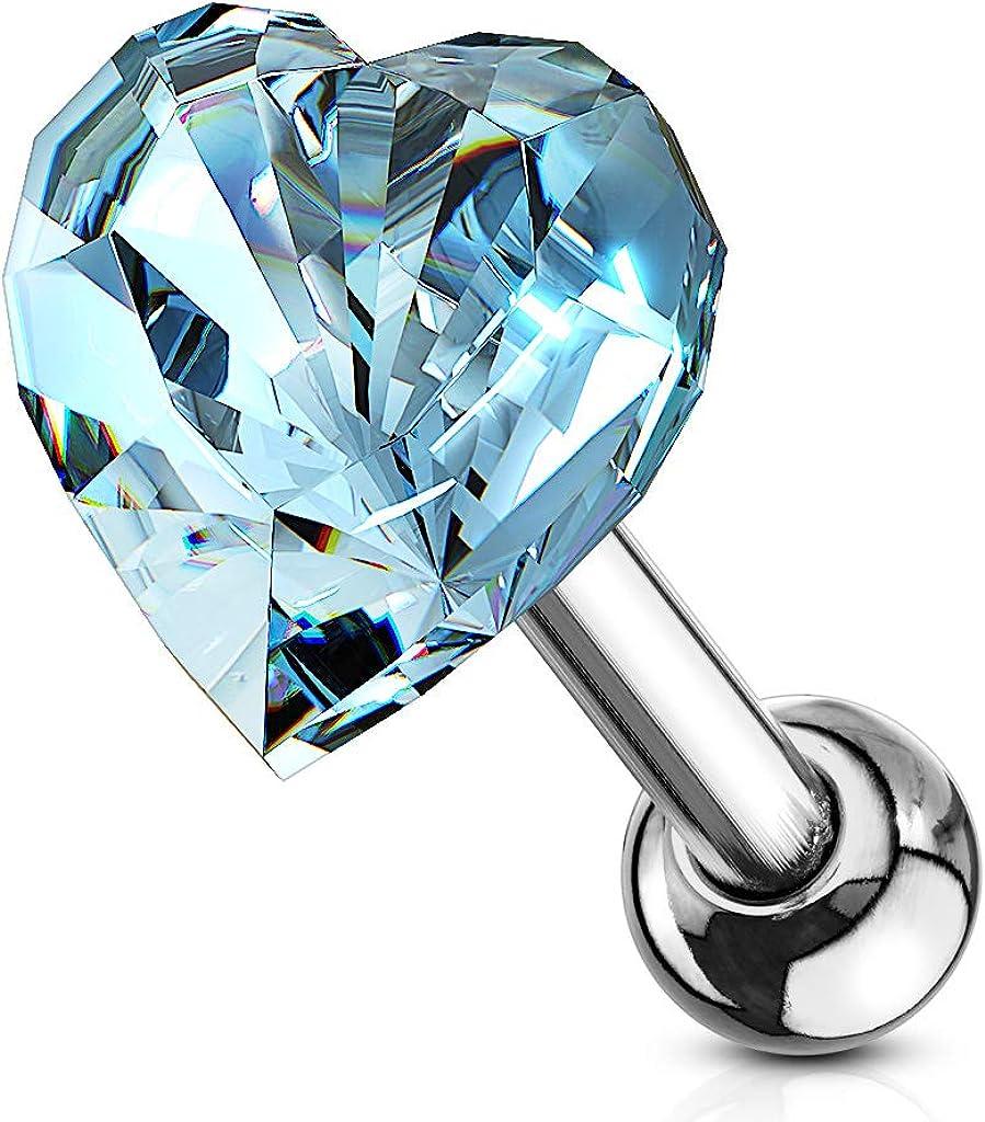 Amelia Fashion 16 Gauge Crystal Heart Top Tragus/Cartilage Barbell Stud 316L Surgical Steel (Choose Color)