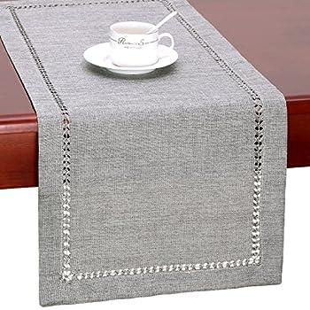 Grelucgo Handmade Hemstitch Gray Dining Table Runner Or Dresser Scarf Rectangular 14 by 60 Inch