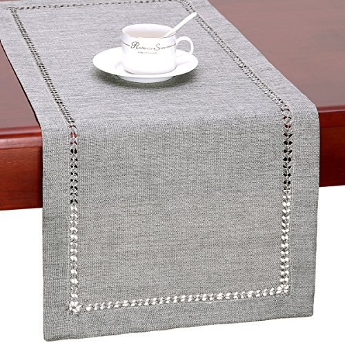 Grelucgo Handmade Hemstitch Gray Dining Table Runner Or Dresser Scarf, Rectangular 14 by 36 Inch