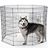 Dog Exercise Pen Pet Playpens for XX-Large Dogs - Puppy Playpen Outdoor Back or Front Yard Fence Cage Fencing Doggie Rabbit Cats Playpens Outside Fences with Door - 48 Inch Metal Wire 8-Panel Foldable