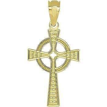 14k Yellow Gold Celtic Cross w//Eternity Circle Pendant