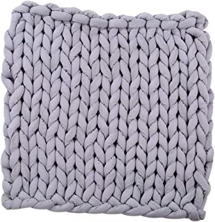 FITYLE Chunky Knitted Handmade Thick Blanket Hand Yarn Bulky Knit Throw Sofa - 60 x 60cm - Gray, as described