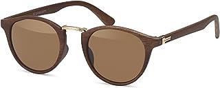 d76acd43a0 styleBREAKER Gafas de sol en óptica de madera y lentes redondas, montura de  plástico y