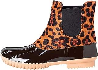 Ankle Boots For Women Low Heel Winter Booties Sagton Leopard Rain Boot Color Matchin Ladies Short Boots Waterproof Boots Yellow,8.5