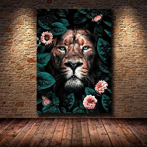 wZUN Amante del león Salvaje Africano Lienzo Pintura de Pared Arte león Carteles e Impresiones imágenes de Arte de Animales en Blanco y Negro 60x90 Sin Marco