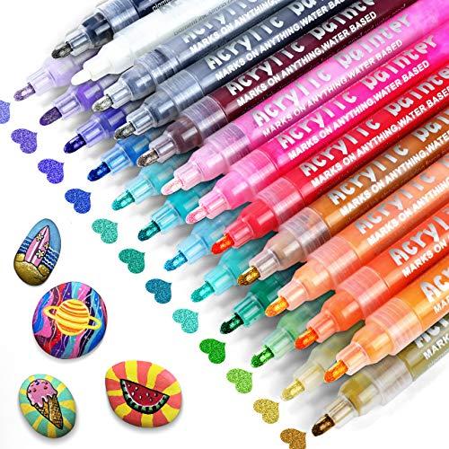RATEL Acrylstifte Marker Stifte,24 Farben Premium Wasserfest Paint Marker Set Wasserfest Permanent Art Filzstift Acrylic Painter für DIY Stein, Leinwand, Papier, Glasmalerei, Metall, Fotoalbum UVM