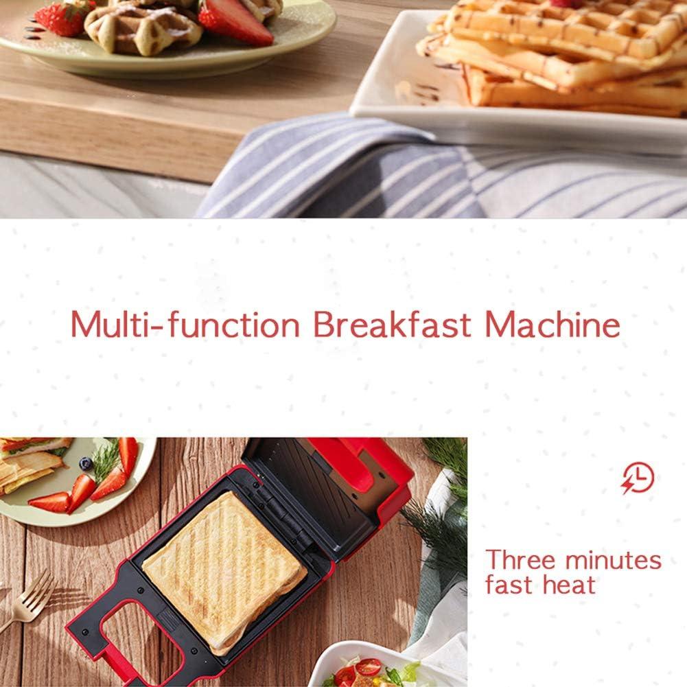 Machine à Sandwich Toasteur 2 in 1 Croque Monsieur, Gaufrier Sandwich Plaques Détachables Plaques Antiadhésives pour Toasts/Légumes/Pain, Outils de Cuisine - Blanc Red