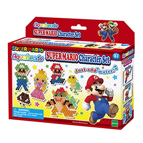 Aquabeads Super Mario Character Set, Complete Arts & Crafts Kit for Children - Over 600 Beads to Create Mario, Luigi, Princess Peach and More
