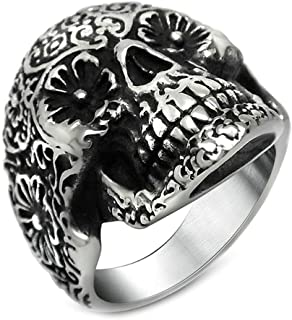 Stainless Steel Customize Mens Rings Black Silver Finger Rings Punk Vintage Gothic