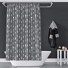 OERJU White Arrows Shower Curtain Casual Style Modern Concise Art Dark Grey Bath Curtain Liner Home Bathroom Curtain Set w...