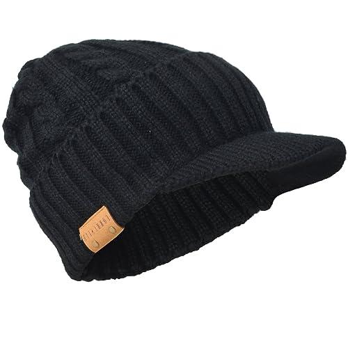 8435b98dbe335 Retro Newsboy Knitted Hat with Visor Bill Winter Warm Hat for Men