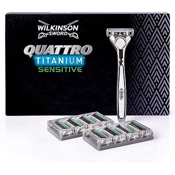Wilkinson Sword Quattro Titanium Precision - Confezione da 1 Rasoio da Uomo + 8 Lame di Ricambio - Confezione adatta alla buca da lettere