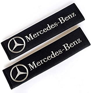 Fitracker 1 Pair Car Seat Belt Shoulder Pads Embroidery Strap Covers Cushion for Mercedes Benz