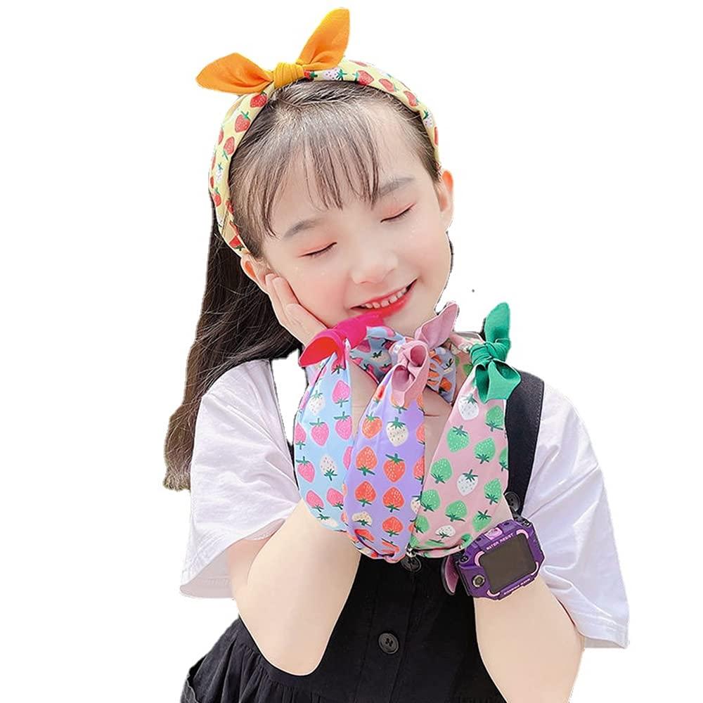 4 PCS Girls OFFicial Cloth Bow Headbands Floral Headb Non Award Cute Kids Slip