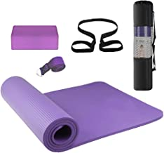 Eco Friendly Non Slip Fitness Exercise Yoga Mat 3PCS Yoga Equipment Set Yoga Mat Yoga Blocks Stretching Strap Yoga Beginner Exercise Set with Mat Storage Pouch and Strap