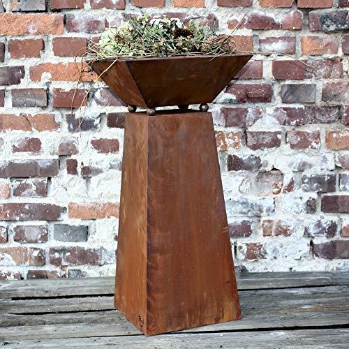 Rostikal | Pflanzsäule in Rostoptik | abnehmbare Pflanzschale | Gartendeko für drinnen und draussen | Höhe 72 cm