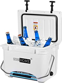 VIVOHOME 22 Quart Ice Chest, Heavy Duty Insulated Beverage Can Cooler with Carry Handle for Camping Fishing Trips, FDA Approved, White