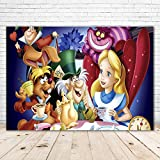 ClassicAlice in Wonderland Backdrop 7x5 Photo Background Alice in Wonderland Party Decorations 1st Birthday Backdrops for Girls Tea Party Vinyl Alice in Wonderland Party Theme Tablecloth