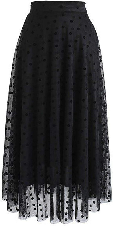 iLUGU Women's Spring Summer Elastic High Waist Long Mesh Pleated Skirt