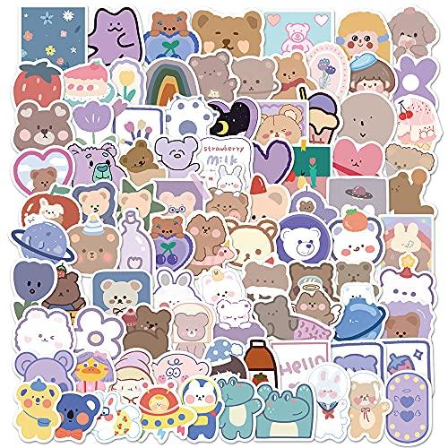 JZLMF 90 Pegatinas de Grafiti de Oso de Dibujos Animados, Maleta, teléfono móvil, Ordenador portátil, Pegatinas de Cuenta de Mano Bonitas