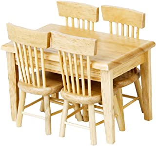 Lowpricenice 5pcs Wooden Dining Table Chair Model Set 1:12 Dollhouse Miniature Furniture