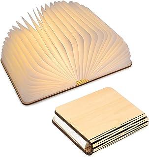 LED Livre Lampe en Bois, Livre Lampe Pliante et Magnétique, LED Lampe de Papier Rechargeable par USB, Lumière Décorative a...