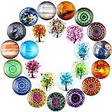 Outus 24 Piezas Imanes de Refrigerador de Vidrio Imanes de Nevera Imanes de Frigorífico con Diseño de Árbol Mandala Flores Planeta para Aula Pizarra Armario Nevera