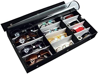 Ikee Design Large 12 Compartment Vinyl Clear Top Eyewear Case for Eyeglasses, Sunglasses, Watches, Jewelry