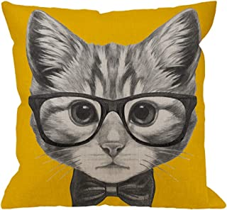 HGOD DESIGNS Cat Square Pillow Cushion Cover,Cat with Glasses and Bow Tie Cotton Linen Cushion Covers Home Decorative Throw Pillowcases 18x18inch,Yellow,Gray,Yellow