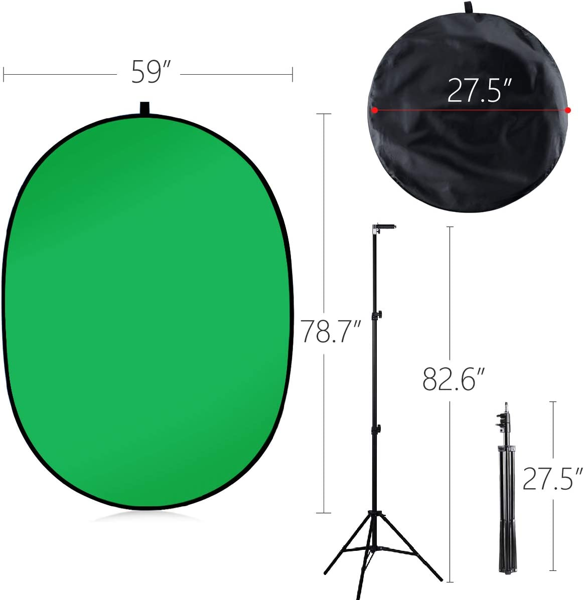 5X7Portable Green Screen Backdrop with Stand Blue and Green 2-in-1 Collapsible Green Screen Kit