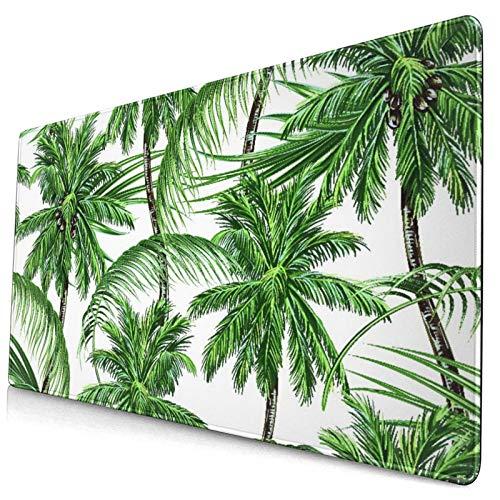 Nettes Mauspad ,Premium Palmen tropische Blätter thermisch isolier,Rechteckiges rutschfestes Gummi-Mauspad für den Desktop, Gamer-Schreibtischmatte, 15,8