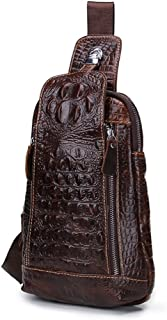 Contacts Vintage Genuine Leather Mens Alligator Daypack Crossbody Travel Shoulder Bag Coffee