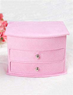 Storage Box Storage Holder Storage Boxes Retro jewelry box fan-shaped double-drawer multi-layer with a mirror cosmetic case jewelry box(15 10 12.5cm) (Color : D) home storage and organization