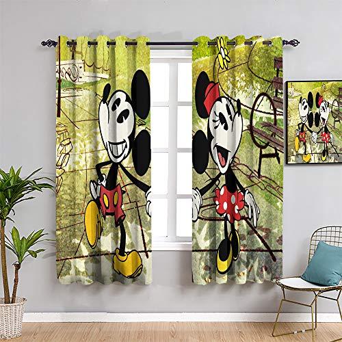 Mickey Minnie Mouse - Cortinas aislantes para oscurecimiento de la habitación, 213,4 cm de largo, Mick-ey Mou-se para habitación de niñas, pantalla insonorizada de 52 x 84 pulgadas