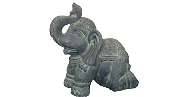 Hi-Line Gift Ltd Clay Fiber Elephant Kneeling Statues Hi-Line LG 76327