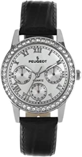 Peugeot Women's Round Gold-Tone Crystal Multi Function Leather Watch