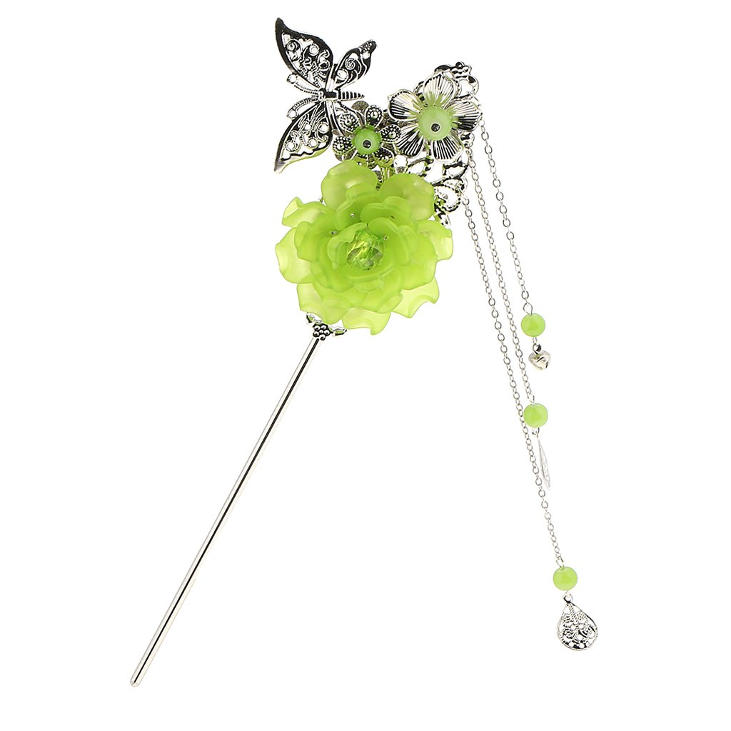 Charms Fashion Flower Butterfly Pendant Tassel Beads Chinese Palace Hanfu Dress Hair Stick for Kimono Lady - Green