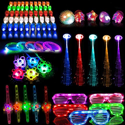 80PCs Glow in the Dark Party Supplies, Shiya Party Favors Glow Bulk, Led Light Up Toys for Kids Adults Birthday Halloween Christmas Glow Party Decoration with Finger Light,Jelly Ring,Flashing Glasses,Bracelet,Hair Light,Flashing Watch,Glow Necklace