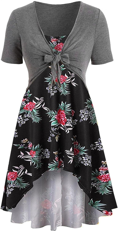 Tavorpt Summer Dresses for Women Beach Fashion Bow knot Bandage Top Print Floral Sundress Plus Size Dress Sundress