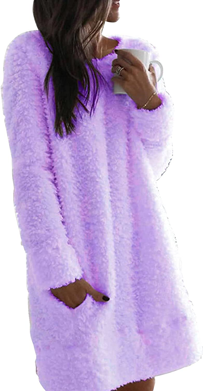 Nirovien sale Womens Fleece Tunic Pullover Color Dress Sherpa Bl Long Denver Mall