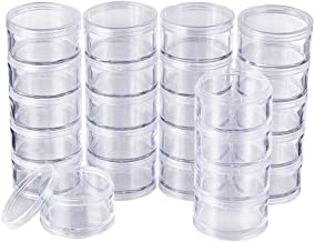 Cxjff 30 PCS Plastic Stackable Clear Round Bead Container Storage Jars For Crafts,Small Items,Beads,Jewelry Findings (Size...
