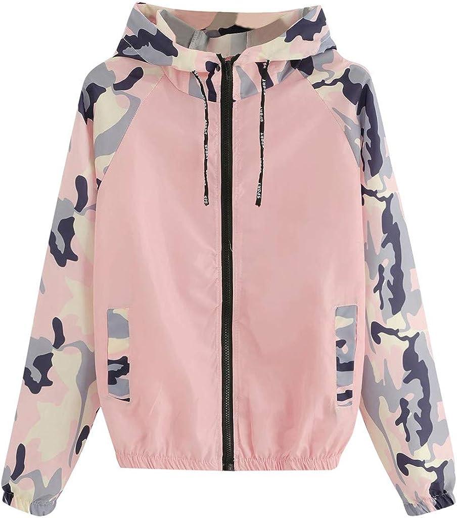 Coats for Women Long Sleeve Patchwork Hooded Zipper Pockets Casual Sport Jacket