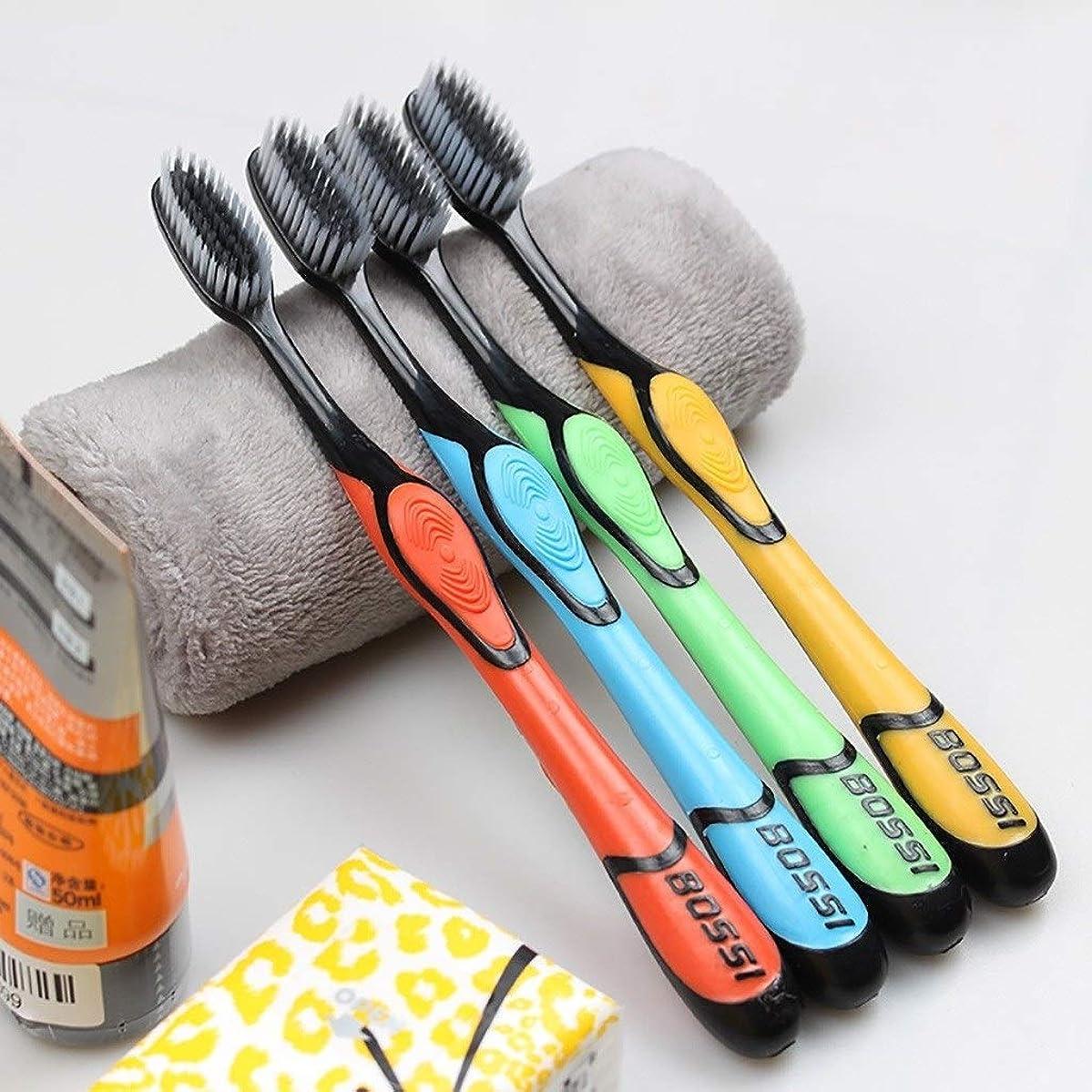 コールシェルタービリーヤギ竹炭の歯ブラシ、滑り止めの高品質PPハンドル、10パック