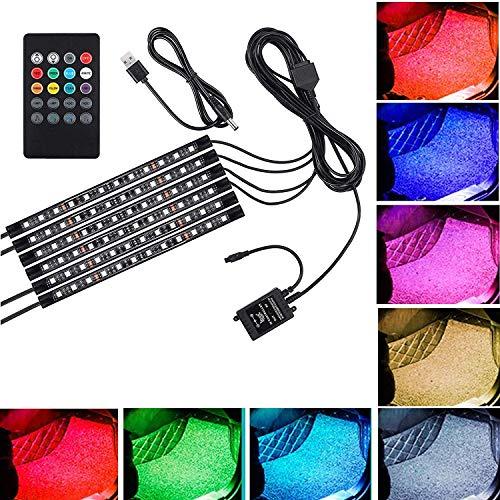 Justech 6PCS 72LEDs Lumières de Bande Lumière Intérieur de Voiture Musique Multicolore RGB SMD Lumières d'Ambiance avec Sonore Active Télécommande sans Fil pour Télévision Voiture Maison-Port USB