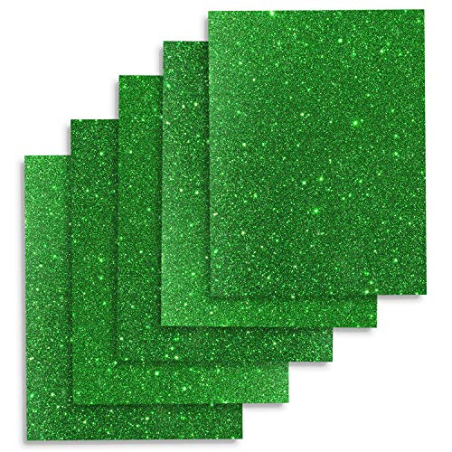 TECKWRAP 12 x 10 (5 Sheets) Glitter Green Heat Transfer Vinyl for T-Shirts, Garments, Bags and Other Fabrics Application (Green)