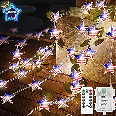 FastDeng 10FT Independence Day Star String Ligh...