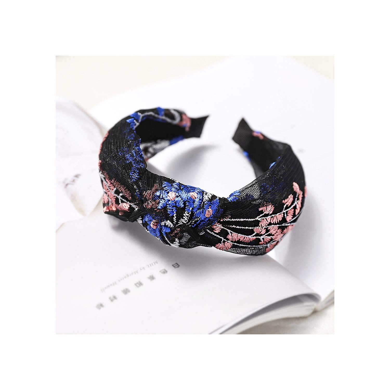 Lace Embroidered Flower Knot Hairbands For Women,1