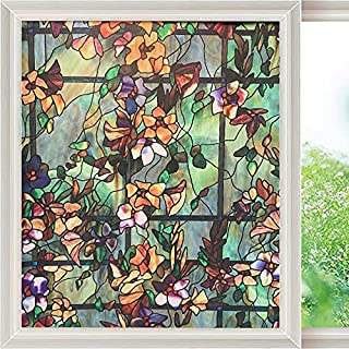 ICYSTOR Window Film Camellia Flower Decorative Glass Film Non-Adhesive Static Cling Stained for Home