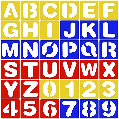 36 Stücke Buchstaben + Nummer Schriftzug Schablone Kunststoff Alphabet Schablonen Set für DIY Lernen Malerei (Zufällige Farbe)